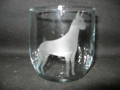 New Etched Great Dane Glass Tumbler