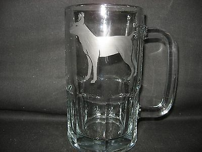 New Etched Rat Terrier Glass Root Beer Mug