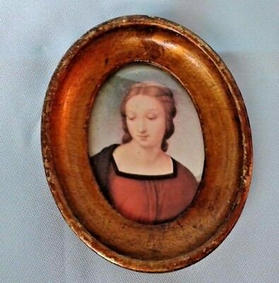 Vintage Small Cameo Portrait Of Young Lady Gilt Bronze Wooden Frame- Italy