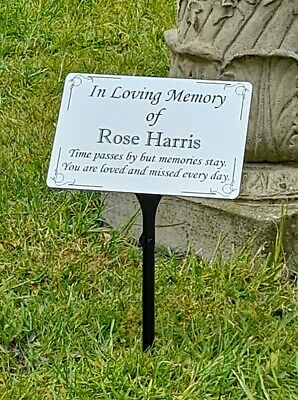 Large Engraved Memorial Stake Grave Marker Cremation with Personalised Plaque