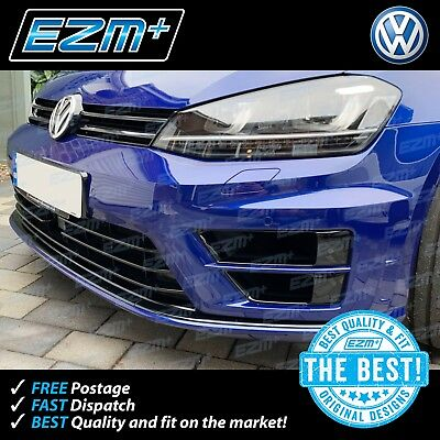 EZM VW Golf R 7 MK7 Splitter Lip Overlay Stickers Decals 'De-Chrome' GLOSS BLACK