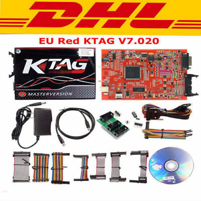 New EU Version KTAG V7.020 With Red PCB + Red 3D Sticker + 4 LED DHL Shipping