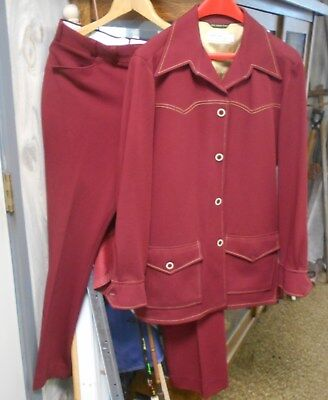 Vtg 1970's Mens Polyester Leisure Suit Munsingware Burgandy Rockabilly 42L