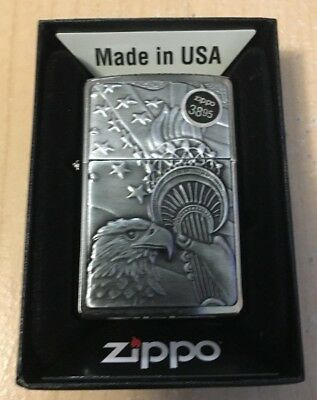 Zippo 20895 Someting Patriotic Emblem Brushed ChromeFinish Lighter Free Shipping