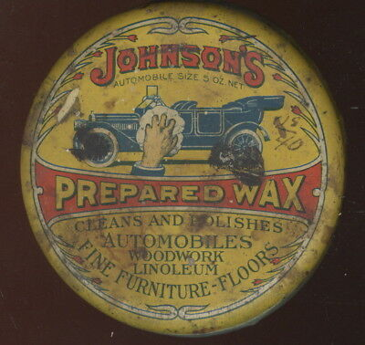 1920S Tin Container, Johnson's Prepared Wax For Automobiles, Car Wax