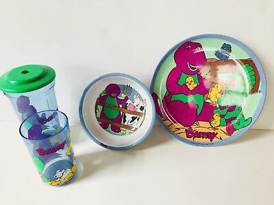 ~BARNEY and Friends BJ Baby Bop Plate Bowl Cup Childs Dinner 4 Piece Set
