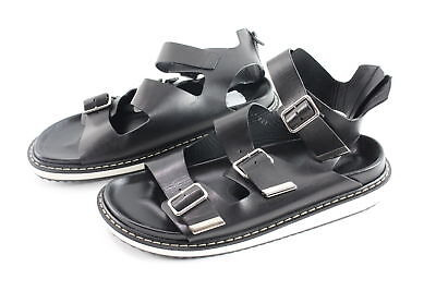 NWT $398 Givenchy Multi Strap Leather Black/White Zip Up Sandals Size 45