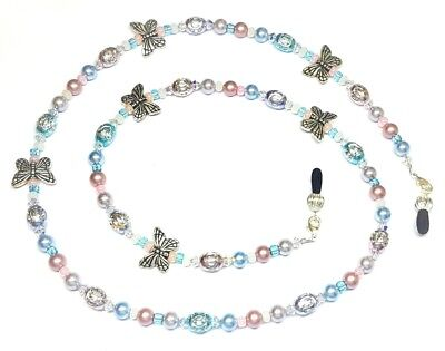 Austrian Crystal Pastel Pearls & Butterflies Eyeglass Chain Holder