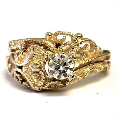 14k yellow gold .33ct SI2 I round solitaire diamond engagement ring wrap 5.9g