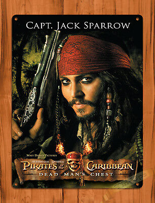 "TIN SIGN ""Captain Jack Sparrow"" Depp Pirates of the Caribbean Disney Decor"