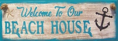 Welcome To Our Beach House Anchor Nautical Rustic Primitive Wood Sign Home Decor