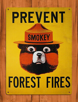 "TIN SIGN ""Smokey the Bear"" Rustic Fire Prevent PSA Forest Wall Decor"