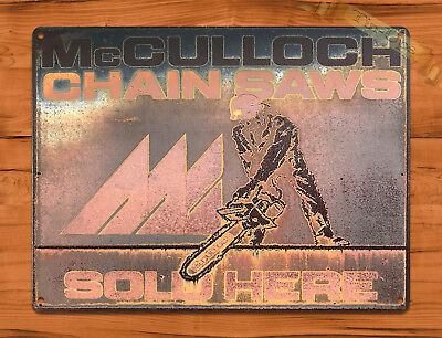 "TIN SIGN ""McCullough Rust"" Chainsaw Rustic Shop Repair Wall Decor"