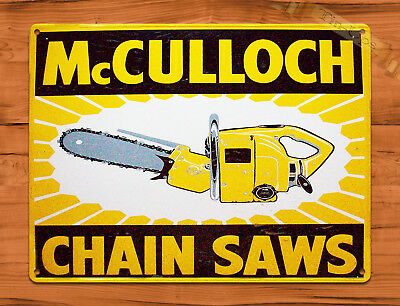 "TIN SIGN ""McCullough Yellow"" Chainsaw Rustic Shop Repair Wall Decor"