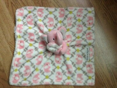 Blankets & Beyond Pink and Gray Elephant Security Blanket Baby Lovey Super Soft