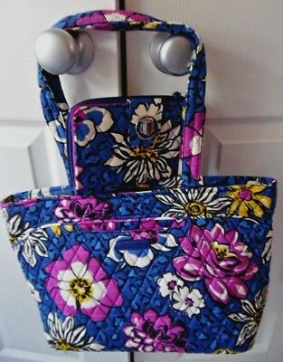 Lot 2 NWT Vera Bradley Afrcan Violets Mandy Tote AND Turnlock Wallet Reail $124