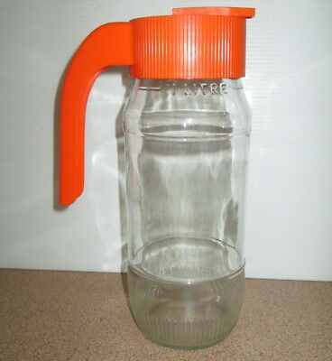 Vintage Tang Orange Drink One litre Glass Bottle With Pour Top