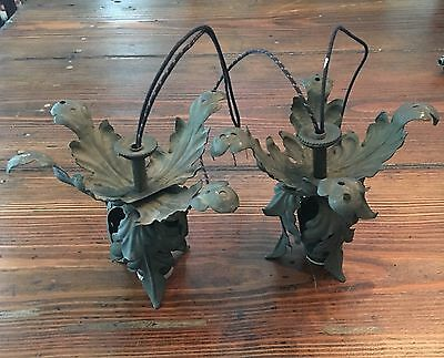 2 Antique Brass Floral Beam Lights wired PAIR Japanned Sockets 23C