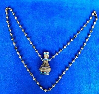 Vintage Chinese Gold Gilded Silver Filigree Beaded Chain & Pendant Necklace