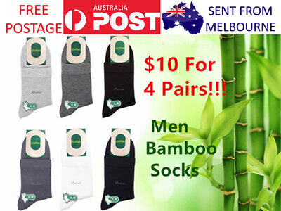 4 Pairs Men Bamboo Socks Large Business Dress Work Socks Breathable Free Postage