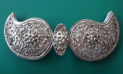 ANTIQUE & AUTHENTIC Ottoman belt buckle jewelry hand knitted silver filigree