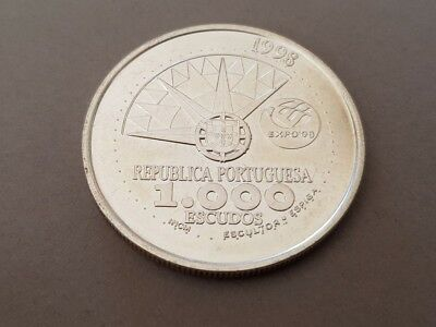 1998 PORTUGAL1000 Escudos LARGE Vintage Silver European Excellent Coin