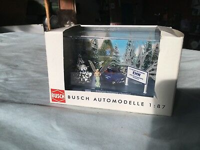 BUSCH  HO 1/87 scene pack with car, trees,sign and fairy