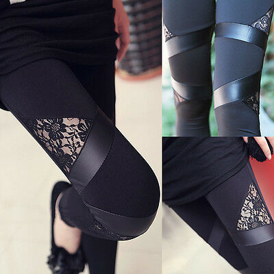 Sexy Women Fashion Lace Stitching Stretchy Faux Leather Back Tight Leggings Pant