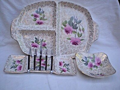"""Vintage """"midwinter Stylecraft"""" X 3 Pcs. Roses/gold Decoration Timeless Appeal!"""