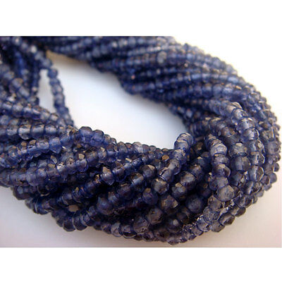 Iolite Rondelles, Micro Faceted Gemstone Beads, 3mm Beads, 14 Inch Strand -I5