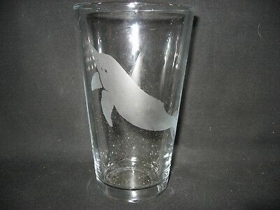 New Etched Amazon River Dolphin Pint Glass Tumbler