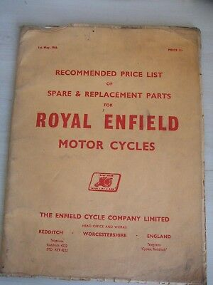 Royal Enfield Motorcycle Original 1966 Factory Spare Parts Price List