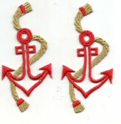 """3/"""" Nautical Metallic Gold Anchor Silver Line Rope Embroidery Patch"""