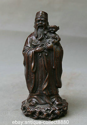 """7.1"""" Marked Chinese Bronze Taoism Immortal Lu God Hold Lovable Girl Stand Statue"""