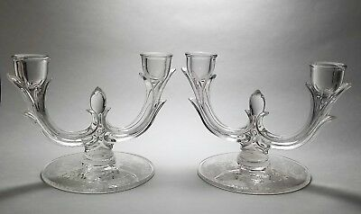 ELEGANT - New Martinsville - #952 Pair of DOUBLE Candle Holders - PRELUDE ETCH