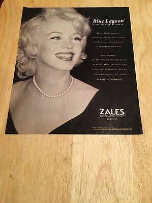 2001 Magazine Ad featuring MARILYN MONROE - BLUE LAGOON Cultured Pearl Necklace
