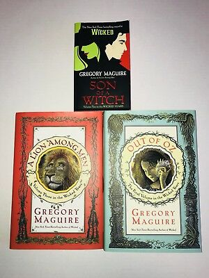LOT OF 3 Gregory Maguire Wicked Books  Son of a Witch Lion Among Men Out of Oz