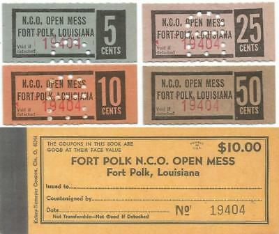 """FORT POLK, LOUISIANA 5-10-20 & 25¢ """"NCO Open Mess CHITS"""" & Picture of CHIT BOOK"""