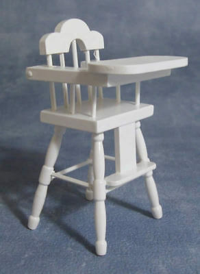 White High Chair, Doll House Miniature Furniture, Seating Childs Chair