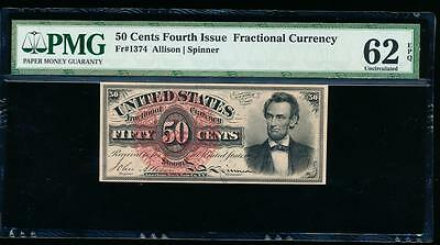 AC Fr 1374 $0.50 1869 fractional fourth issue PMG 62 EPQ LINCOLN