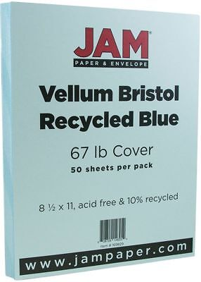 """JAM Paper Vellum Bristol Cardstock 8.5 x 11"""" 67 Lb Blue Recycled 50 Sheets/Pack"""