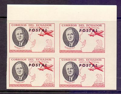 Ecuador  1949  Roosevelt Memorial x 4 Airmail used as Postage, MNH.