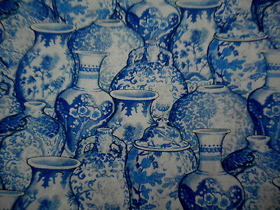 Asian Fabric By The Yard Oriental Blue White Ginger Jars Quilting Cotton