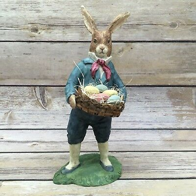Ragon House Collection Easter Rabbit Figurine Basket of Easter Eggs