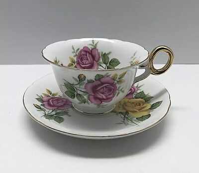 Shelley England Fine Bone China Tea Cup Yellow Pink Cabbage Rose Chester Shape
