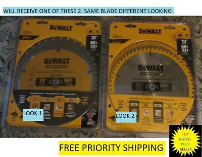 "DEWALT DW3106P5 60-Tooth Crosscutting  32-Tooth General 10"" Inch Saw Blade"