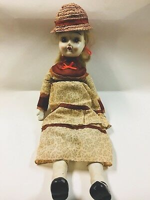 Vintage Porcelain Bisque Doll With Body of Cloth Western Dress 18 Inches