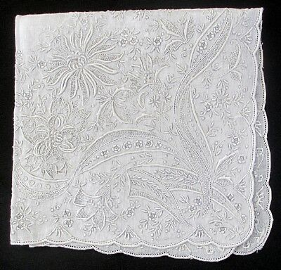 Exquisite BEAUTIFUL Antique Raised Embroidery Handkerchief 11 x 11 Very Detailed