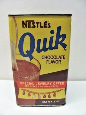 💕 VINTAGE NESTLE'S QUICK CHOCOLATE FLAVOR TIN CAN Special Jewelry offer