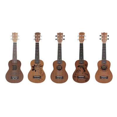 21 inch Laser Engraving Picture Soprano Ukulele for Students Practice